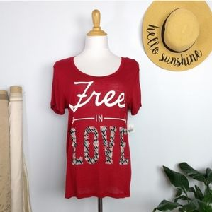 Free in Love Graphic Tee Extra Large New